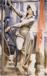 Самохвалов Александр Николаевич (1894 - 1971) Метростроевка у бетоньерки. 1937 г.  холст, масло, темпера